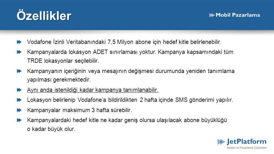 Özellikler Vodafone İzinli Veritabanındaki 7,5 Milyon abone için hedef kitle belirlenebilir.