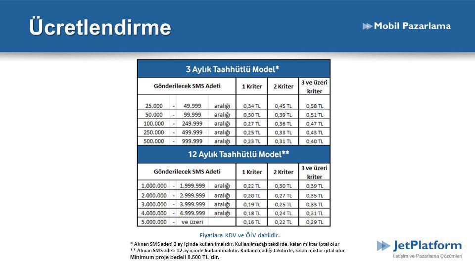 Ücretlendirme Fiyatlara KDV ve ÖİV dahildir.