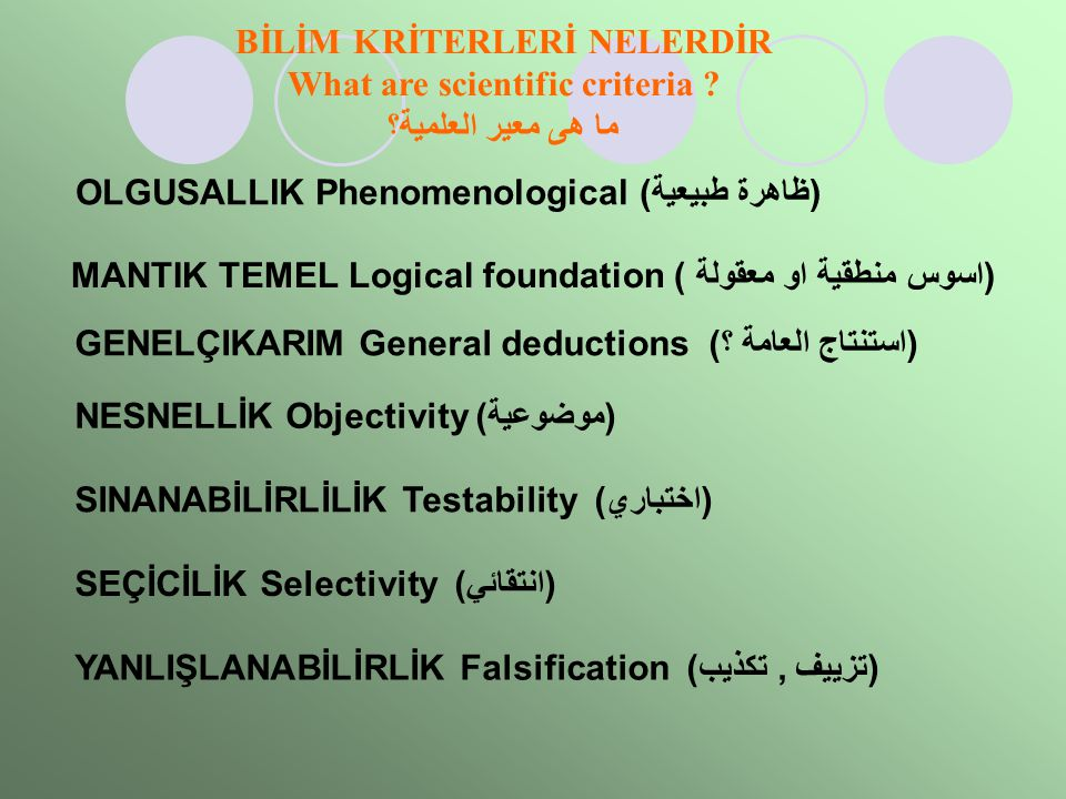 BİLİM KRİTERLERİ NELERDİR What are scientific criteria
