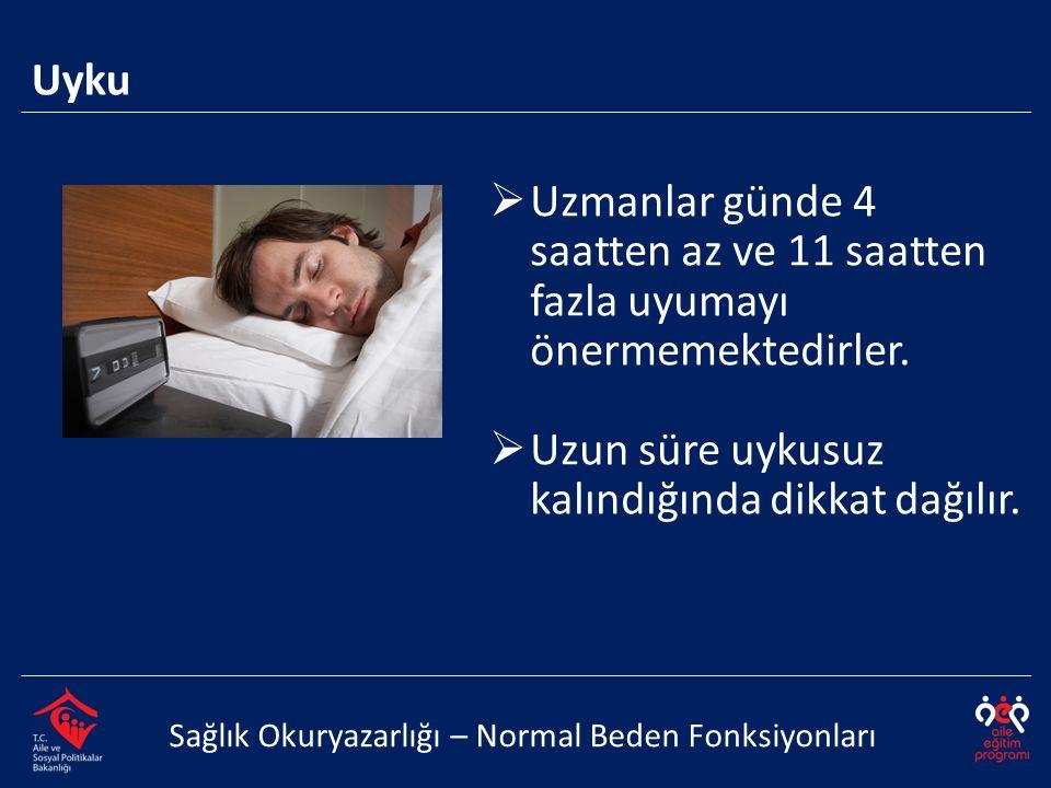 Uzun süre uykusuz kalındığında dikkat dağılır.