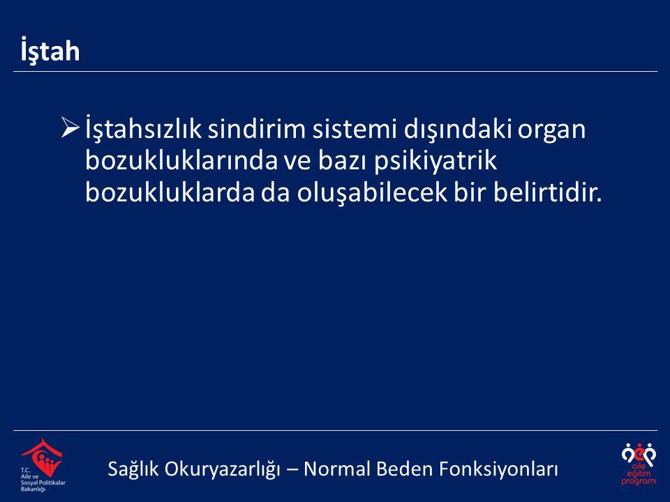 İştah İştahsızlık sindirim sistemi dışındaki organ bozukluklarında ve bazı psikiyatrik bozukluklarda da oluşabilecek bir belirtidir.