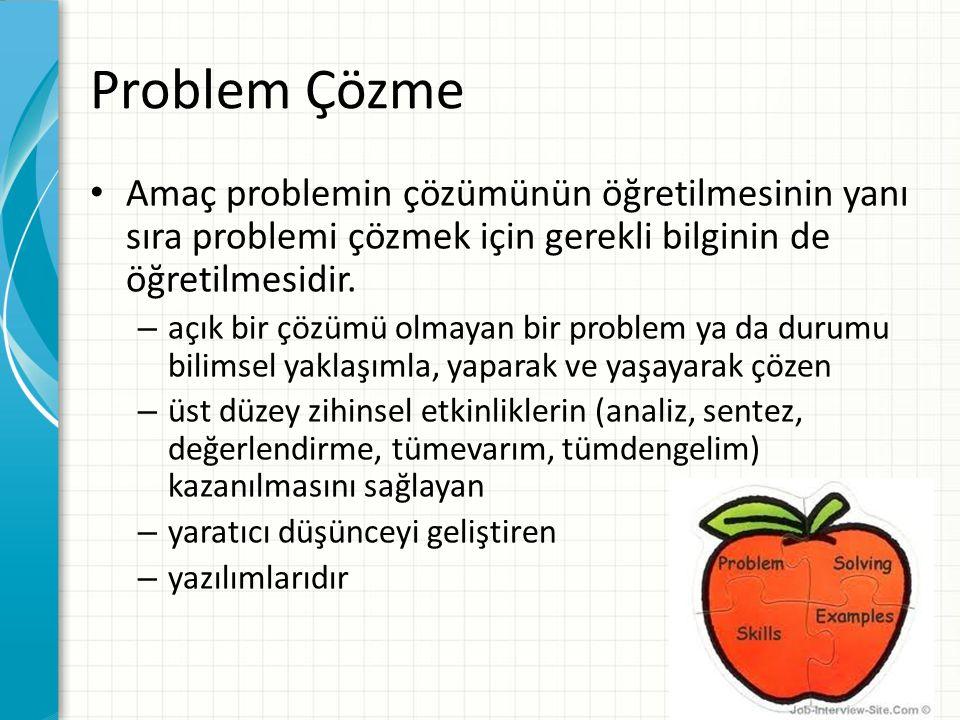 Problem Çözme Amaç problemin çözümünün öğretilmesinin yanı sıra problemi çözmek için gerekli bilginin de öğretilmesidir.
