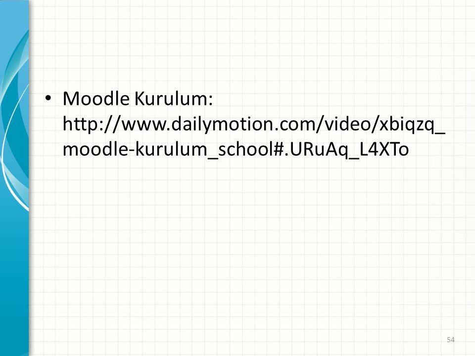 Moodle Kurulum: http://www. dailymotion