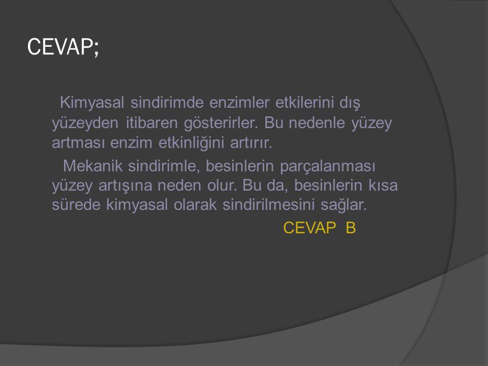 CEVAP; Kimyasal sindirimde enzimler etkilerini dış yüzeyden itibaren gösterirler. Bu nedenle yüzey artması enzim etkinliğini artırır.