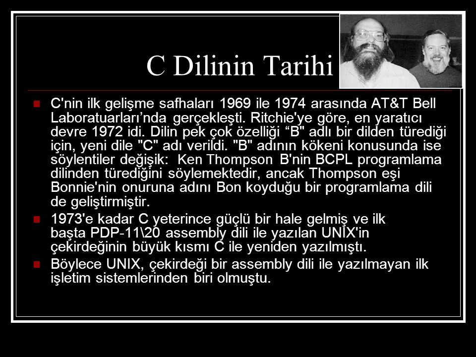 C Dilinin Tarihi