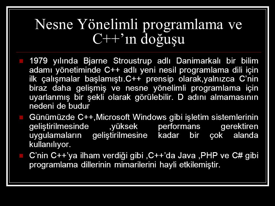 Nesne Yönelimli programlama ve C++'ın doğuşu