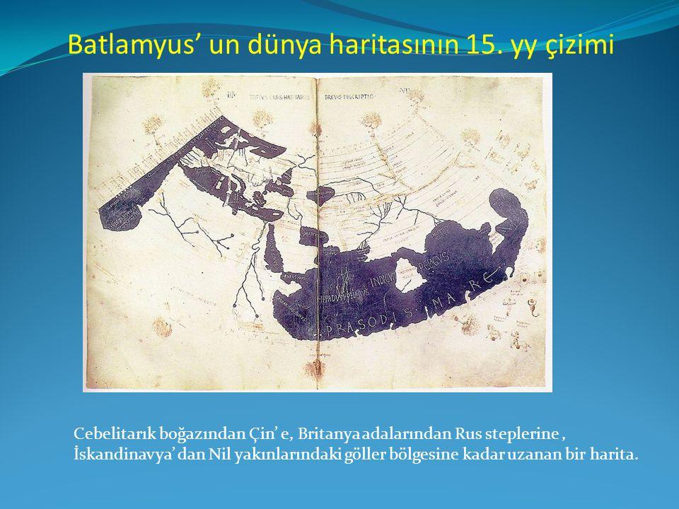 Batlamyus' un dünya haritasının 15. yy çizimi