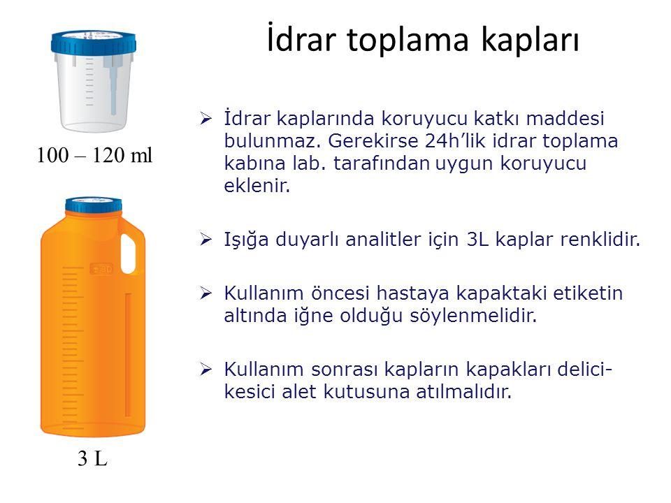 İdrar toplama kapları 100 – 120 ml 3 L