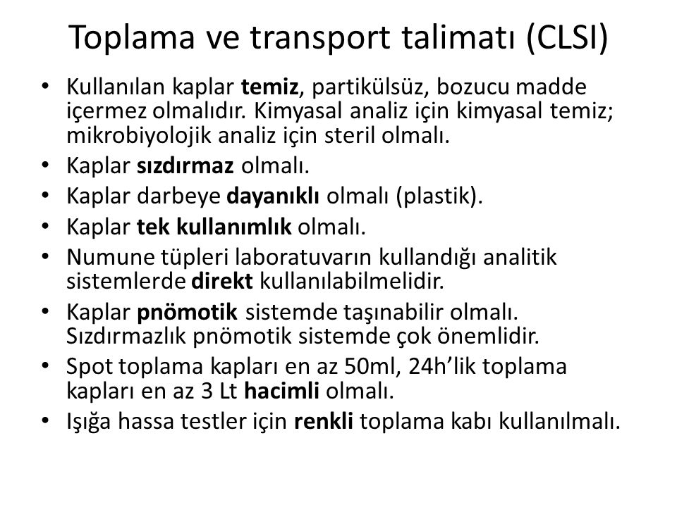 Toplama ve transport talimatı (CLSI)