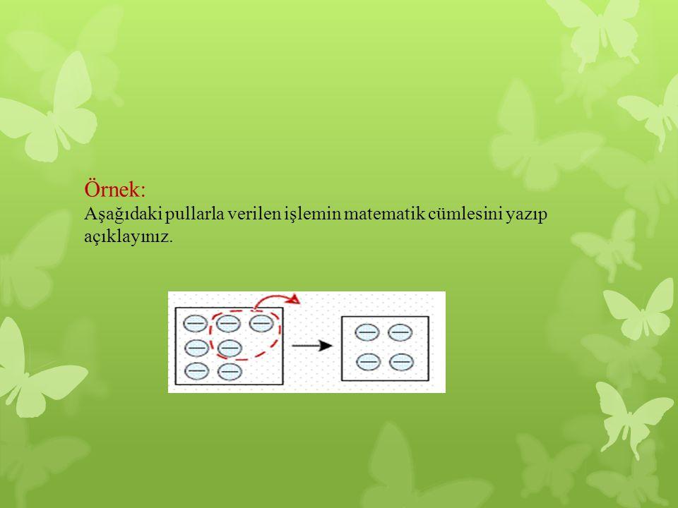 Örnek: Aşağıdaki pullarla verilen işlemin matematik cümlesini yazıp açıklayınız.