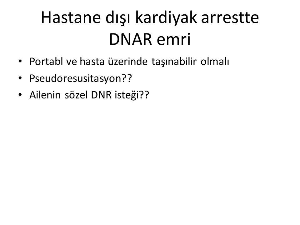 Hastane dışı kardiyak arrestte DNAR emri