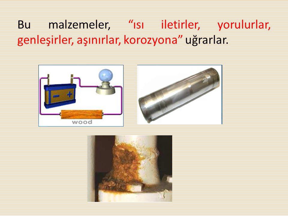 Bu malzemeler, ısı iletirler, yorulurlar, genleşirler, aşınırlar, korozyona uğrarlar.