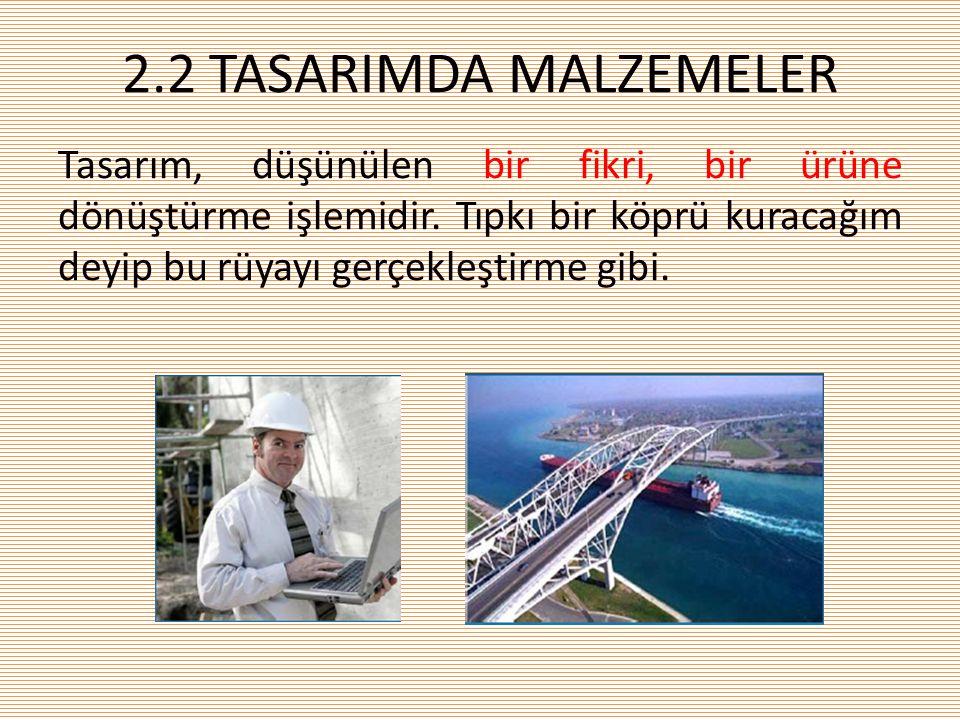 2.2 TASARIMDA MALZEMELER Tasarım, düşünülen bir fikri, bir ürüne dönüştürme işlemidir.