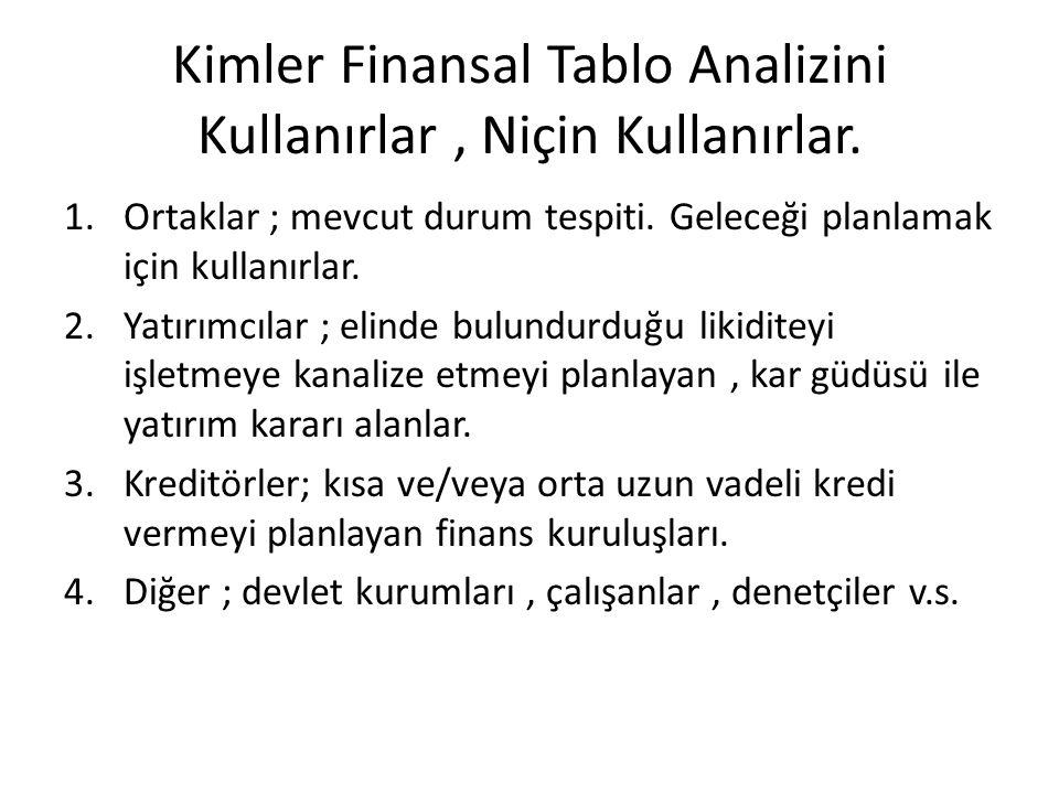 Kimler Finansal Tablo Analizini Kullanırlar , Niçin Kullanırlar.