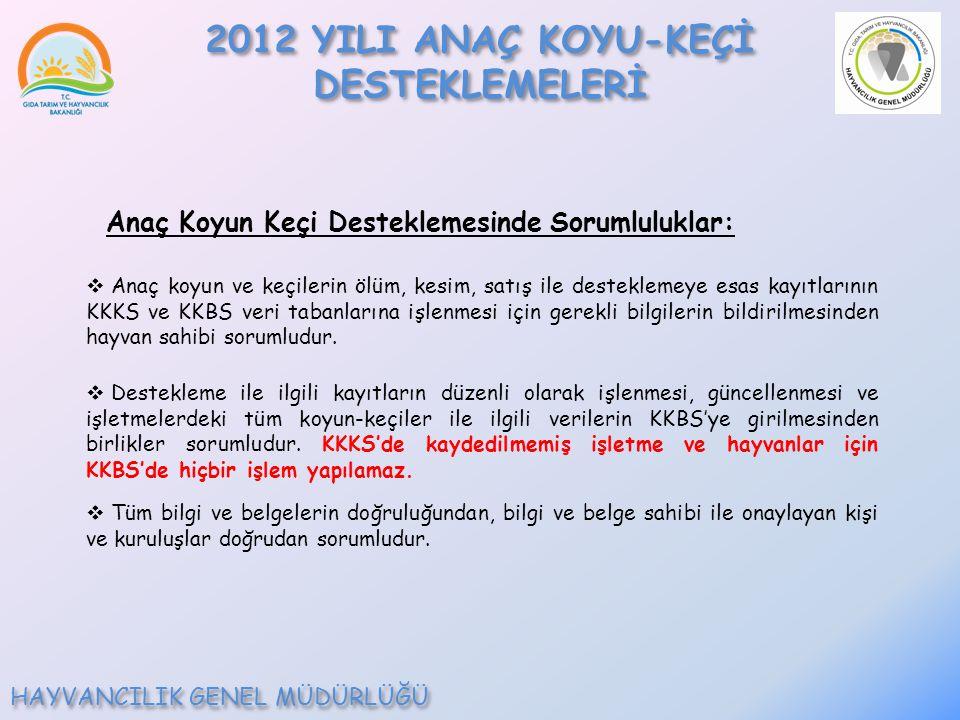 2012 YILI ANAÇ KOYU-KEÇİ DESTEKLEMELERİ