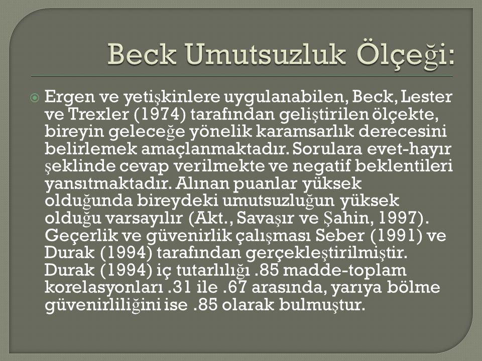 Beck Umutsuzluk Ölçeği: