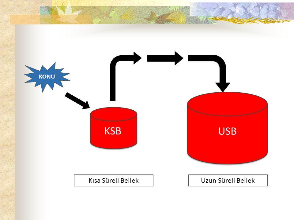 KONU Uzun Süreli Bellek KSB USB Kısa Süreli Bellek