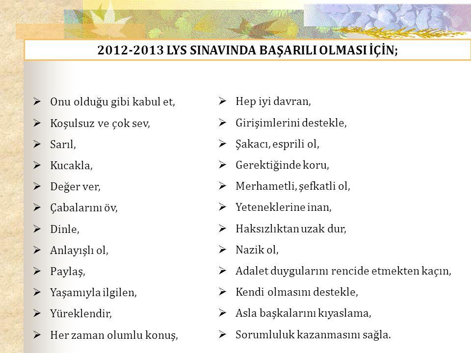 2012-2013 LYS SINAVINDA BAŞARILI OLMASI İÇİN;