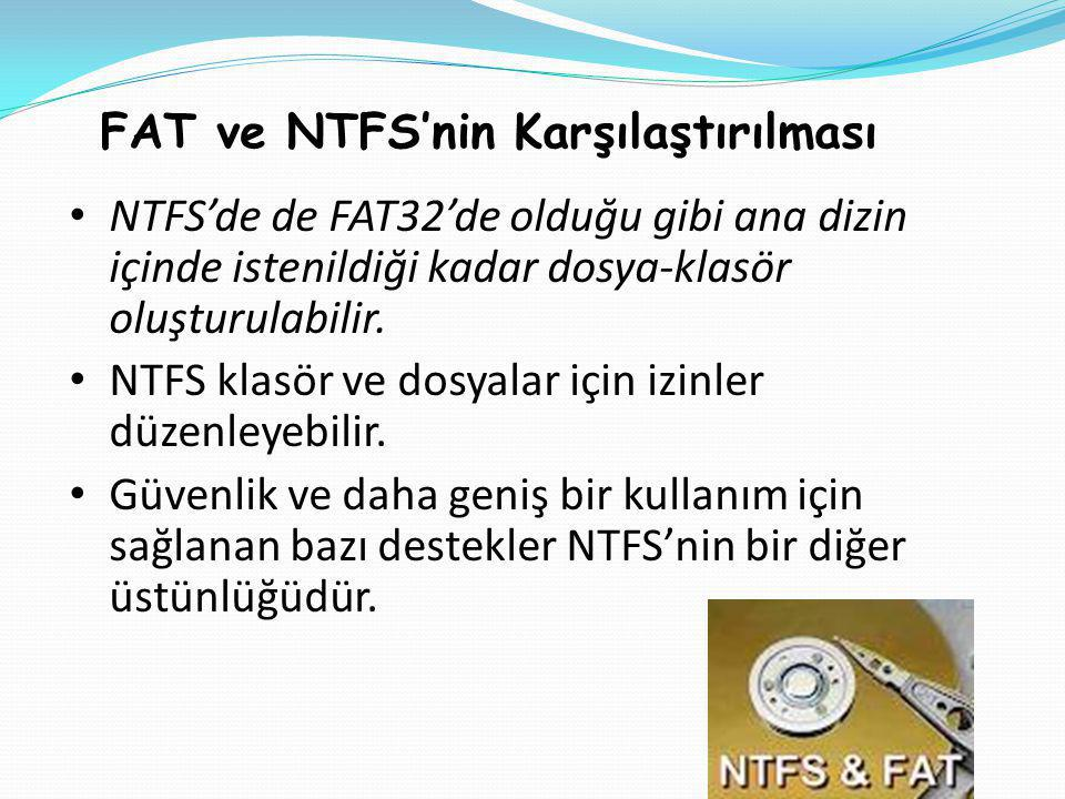 FAT ve NTFS'nin Karşılaştırılması