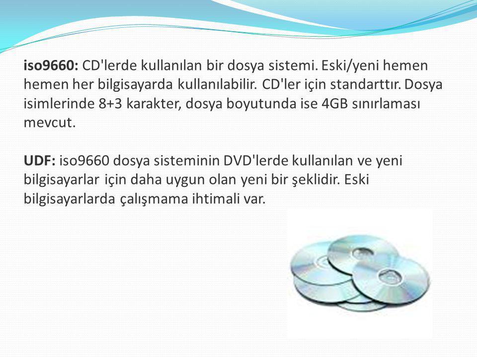 iso9660: CD lerde kullanılan bir dosya sistemi