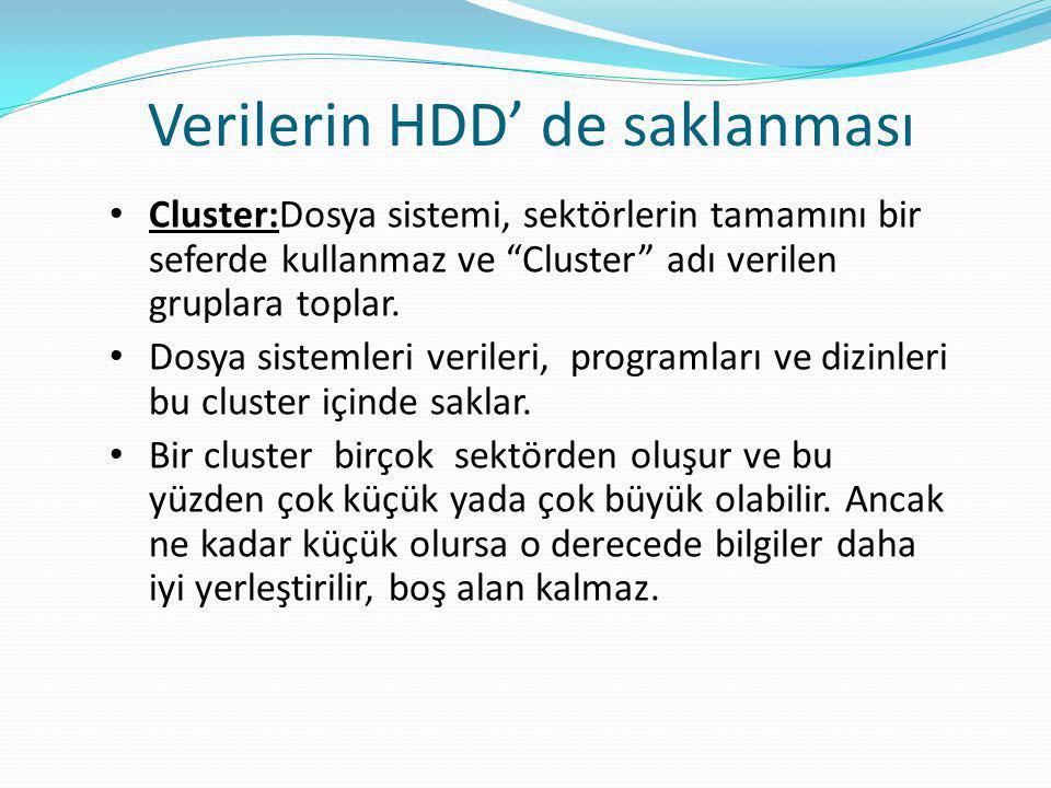 Verilerin HDD' de saklanması