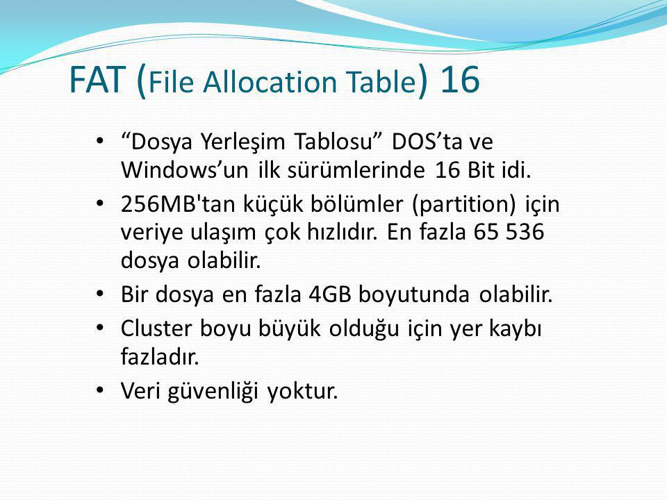 FAT (File Allocation Table) 16