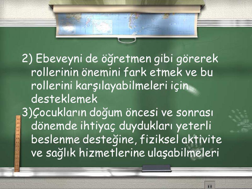 2) Ebeveyni de öğretmen gibi görerek rollerinin önemini fark etmek ve bu rollerini karşılayabilmeleri için desteklemek