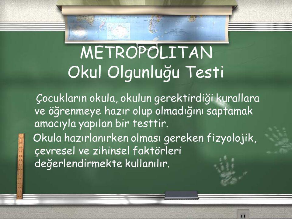 METROPOLITAN Okul Olgunluğu Testi