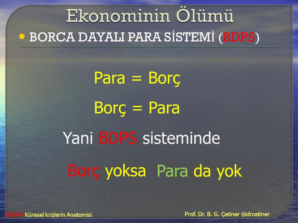 Ekonominin Ölümü Para = Borç Borç = Para Yani BDPS sisteminde