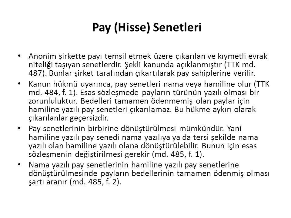 Pay (Hisse) Senetleri