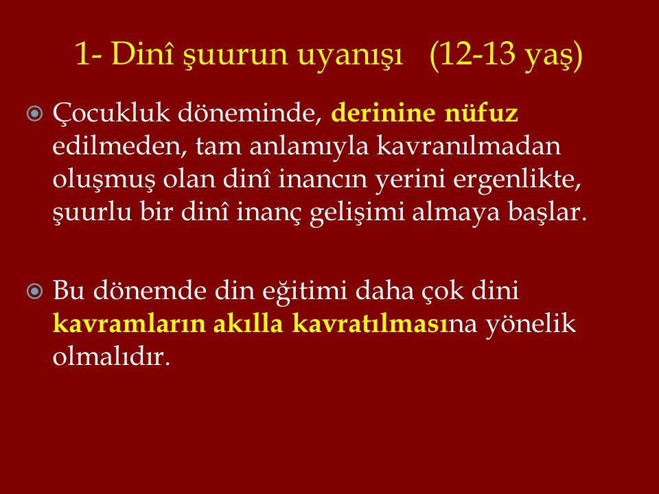 1- Dinî şuurun uyanışı (12-13 yaş)