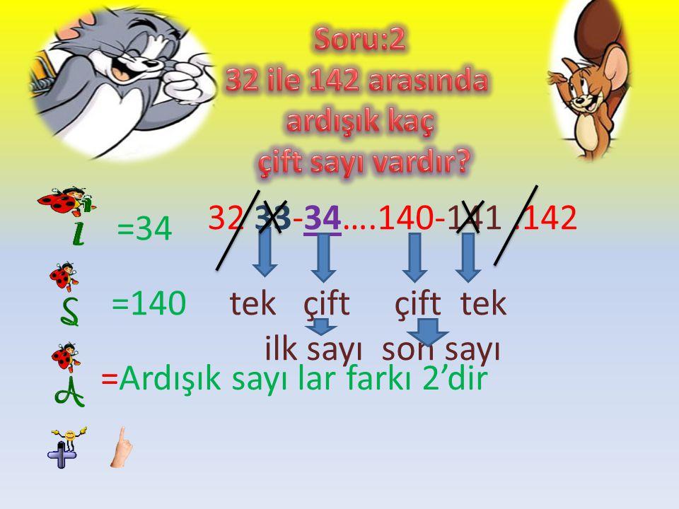 =Ardışık sayı lar farkı 2'dir