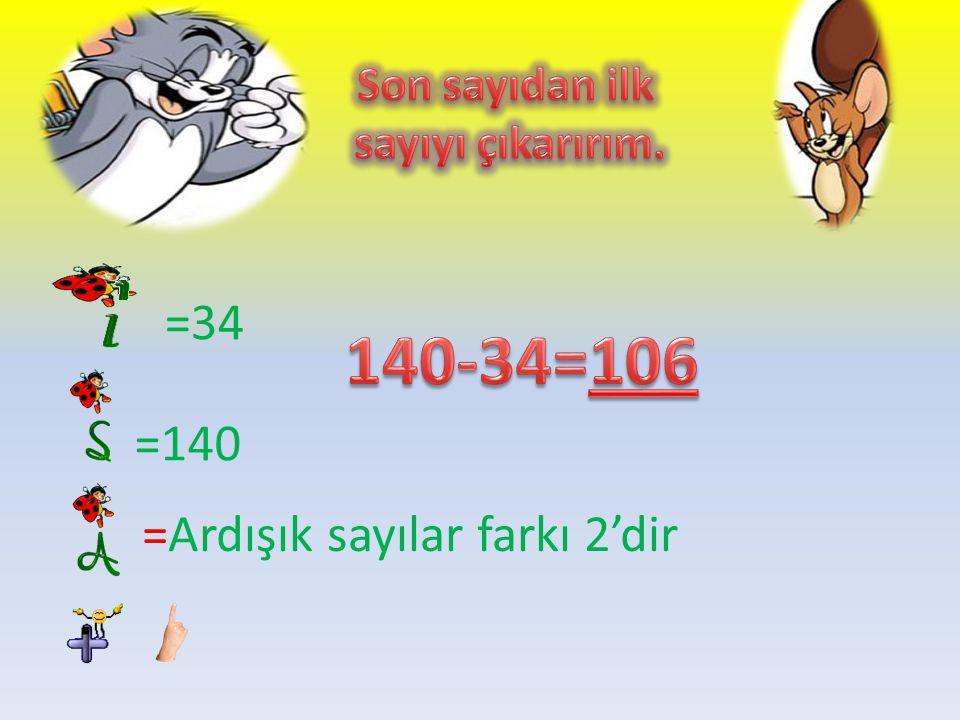 140-34=106 =34 =140 =Ardışık sayılar farkı 2'dir Son sayıdan ilk