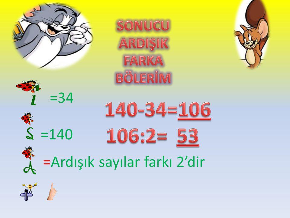140-34=106 106:2= 53 =34 =140 =Ardışık sayılar farkı 2'dir SONUCU