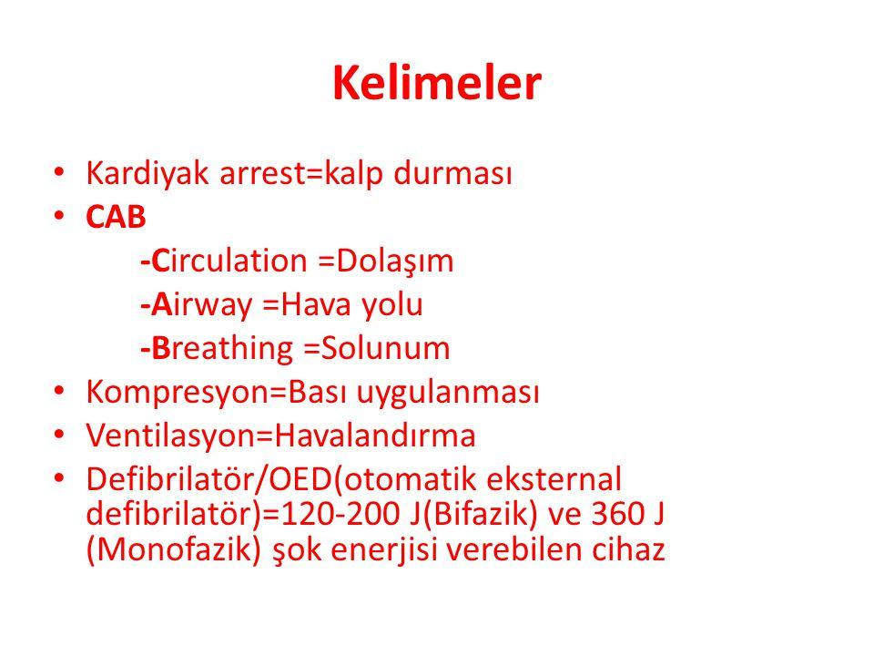 Kelimeler Kardiyak arrest=kalp durması CAB -Circulation =Dolaşım
