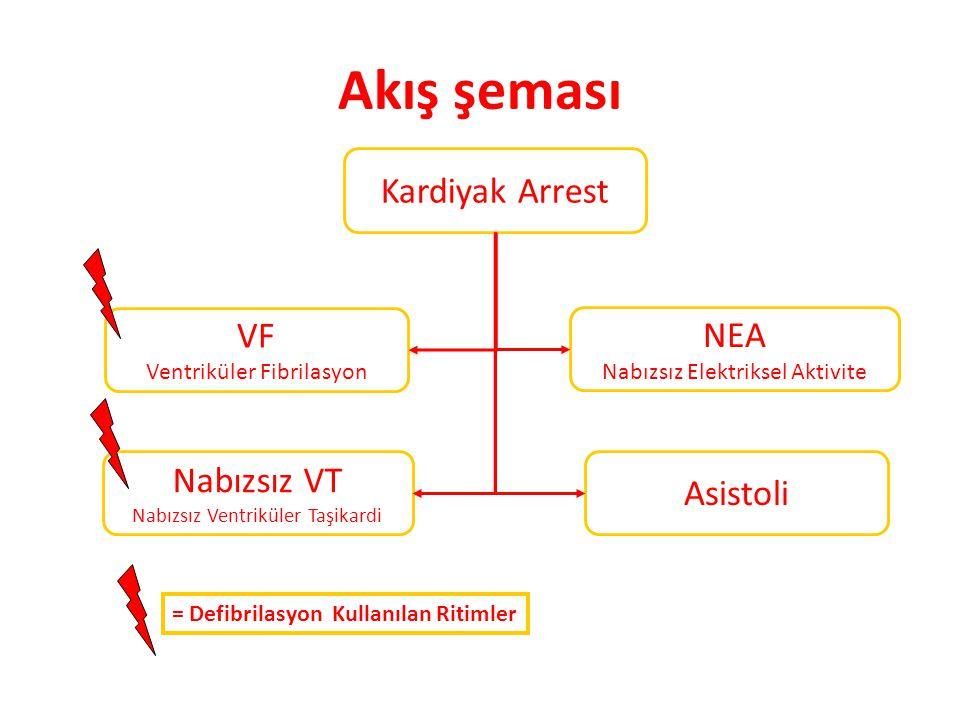 Akış şeması Kardiyak Arrest VF NEA Nabızsız VT Asistoli