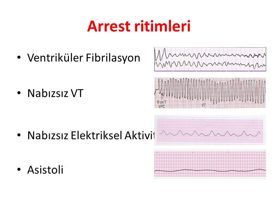 Arrest ritimleri Ventriküler Fibrilasyon Nabızsız VT