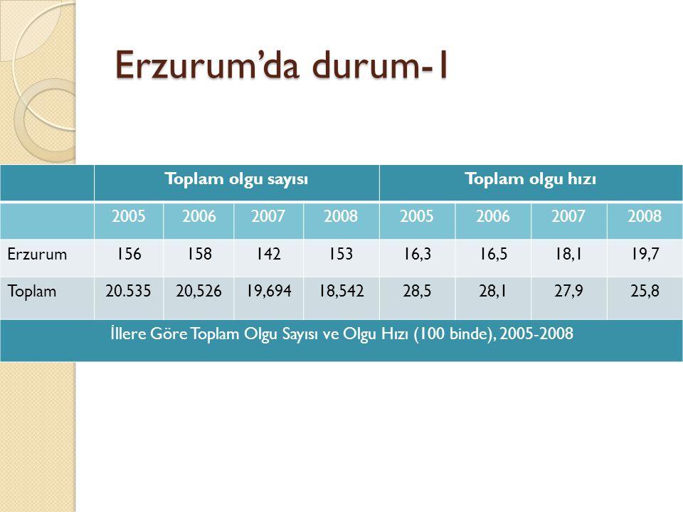 İllere Göre Toplam Olgu Sayısı ve Olgu Hızı (100 binde), 2005-2008