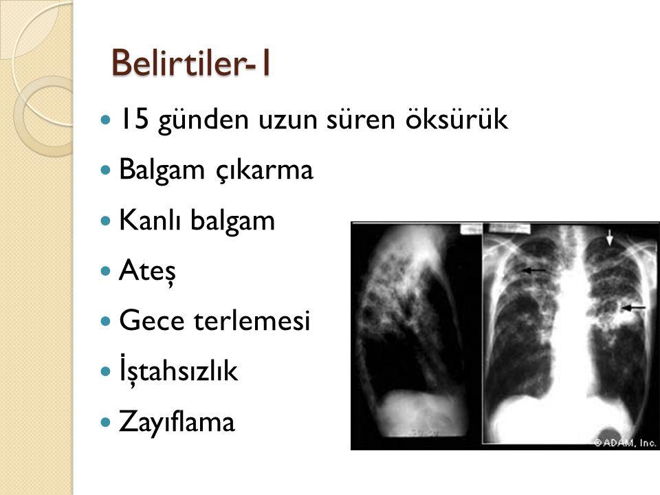 Belirtiler-1 15 günden uzun süren öksürük Balgam çıkarma Kanlı balgam