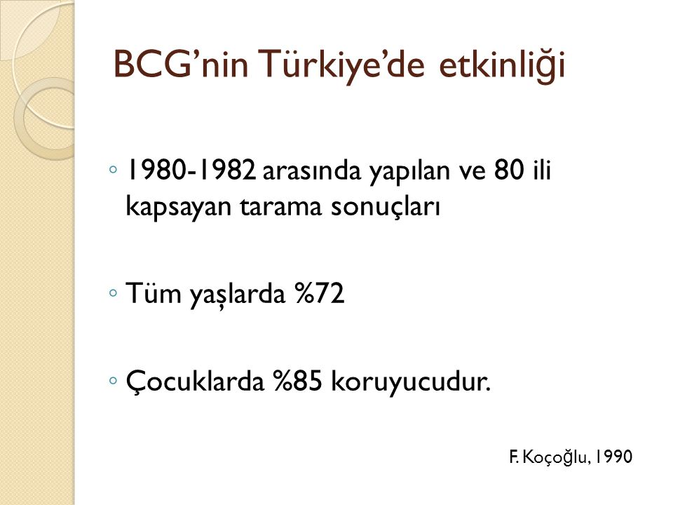 BCG'nin Türkiye'de etkinliği