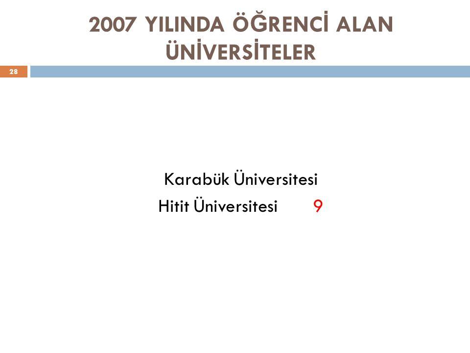 2007 YILINDA ÖĞRENCİ ALAN ÜNİVERSİTELER