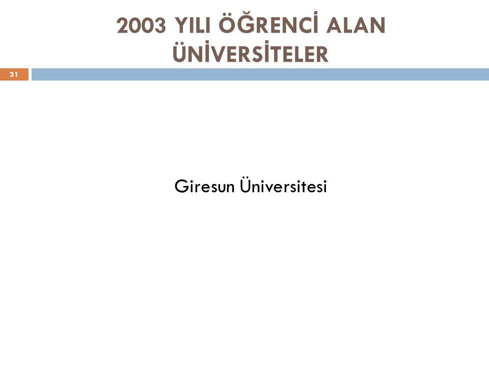 2003 YILI ÖĞRENCİ ALAN ÜNİVERSİTELER