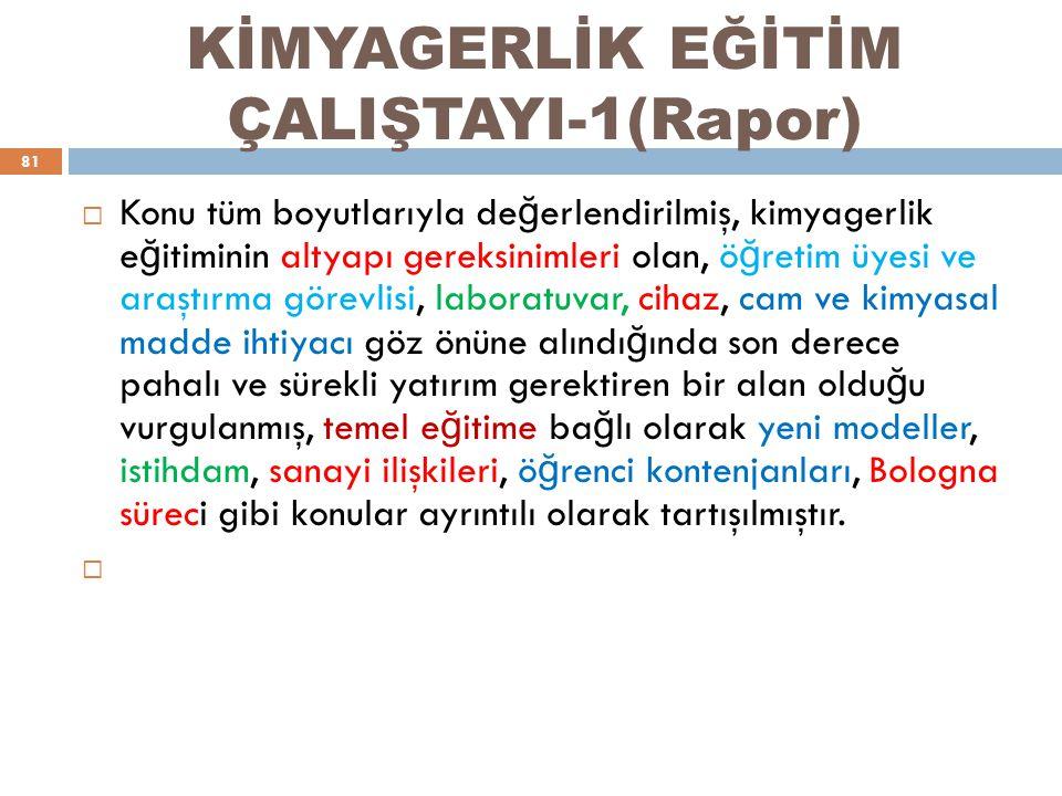 KİMYAGERLİK EĞİTİM ÇALIŞTAYI-1(Rapor)