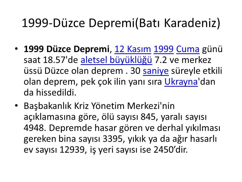 1999-Düzce Depremi(Batı Karadeniz)