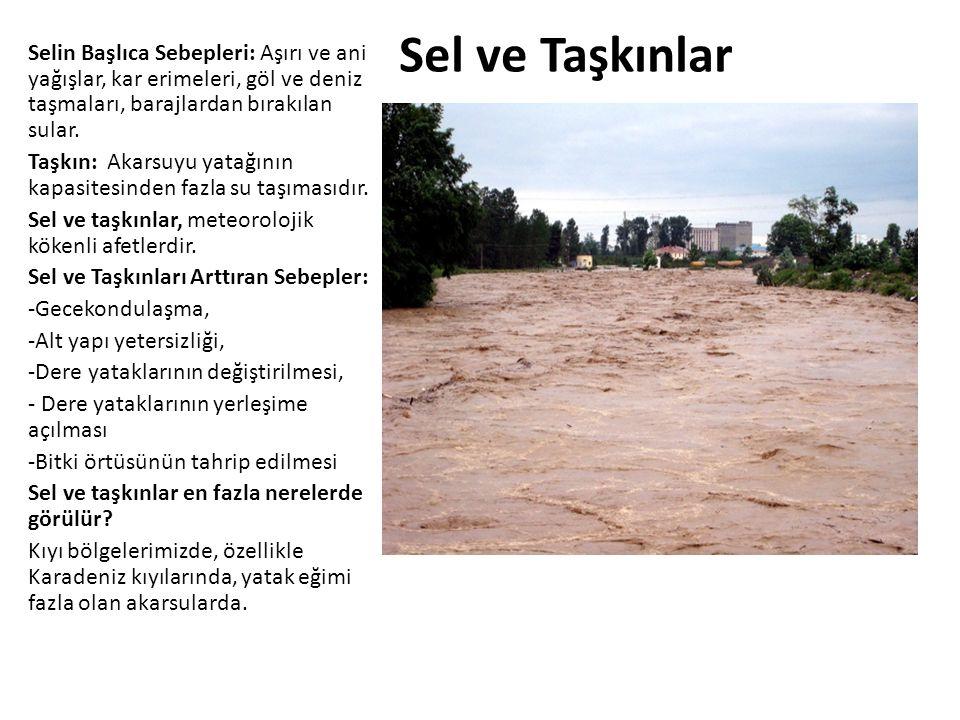 Sel ve Taşkınlar Selin Başlıca Sebepleri: Aşırı ve ani yağışlar, kar erimeleri, göl ve deniz taşmaları, barajlardan bırakılan sular.