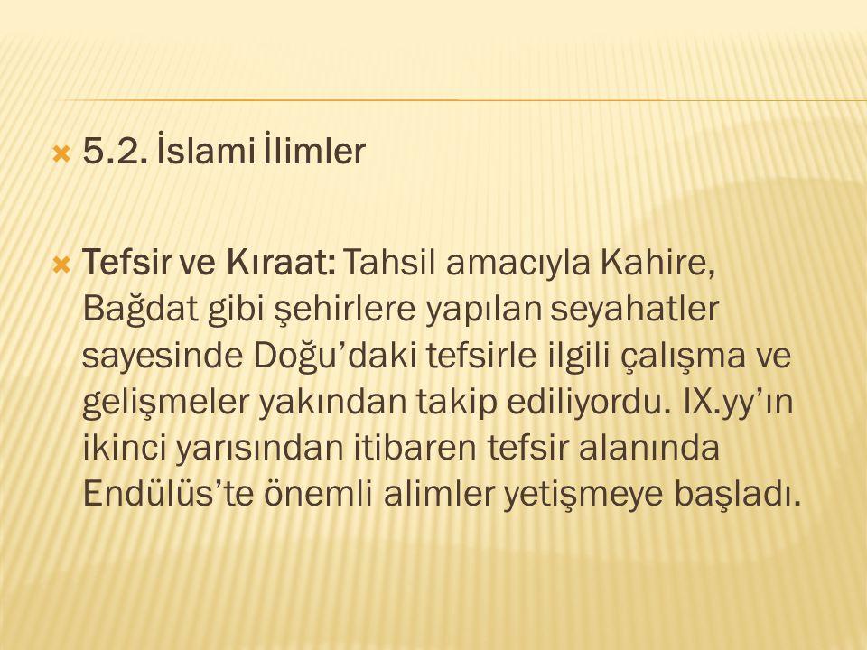 5.2. İslami İlimler