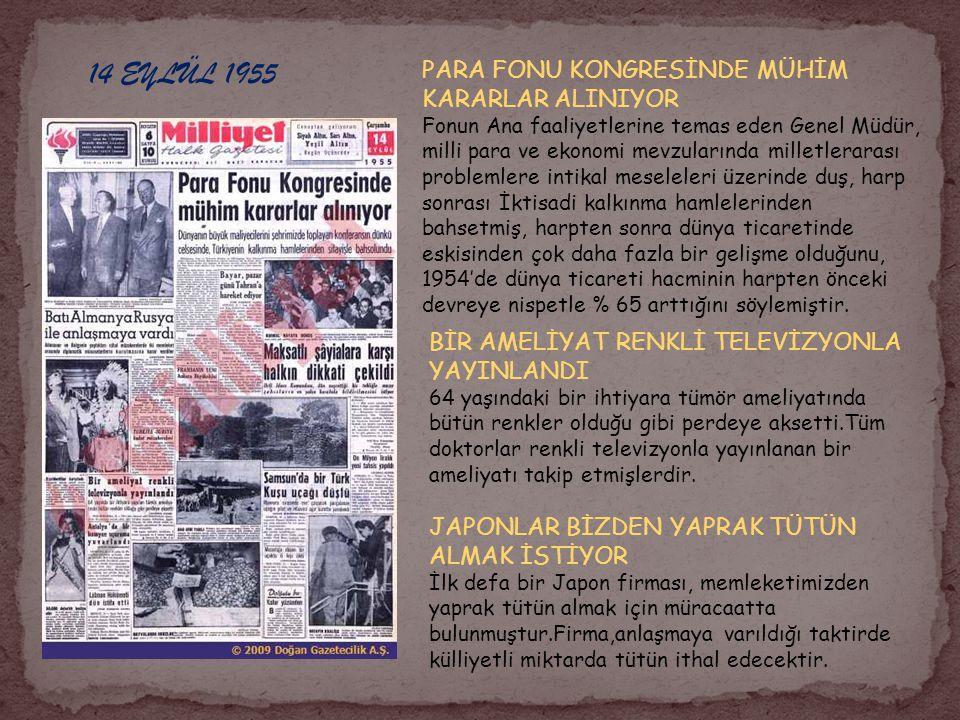 14 EYLÜL 1955 PARA FONU KONGRESİNDE MÜHİM KARARLAR ALINIYOR