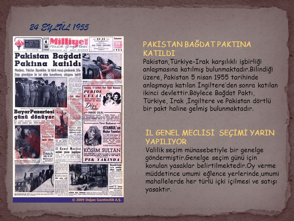 24 EYLÜL 1955 PAKİSTAN BAĞDAT PAKTINA KATILDI