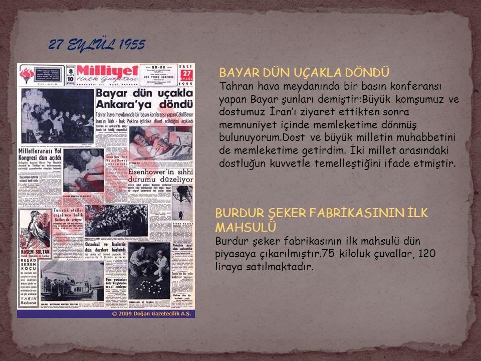 27 EYLÜL 1955 BAYAR DÜN UÇAKLA DÖNDÜ