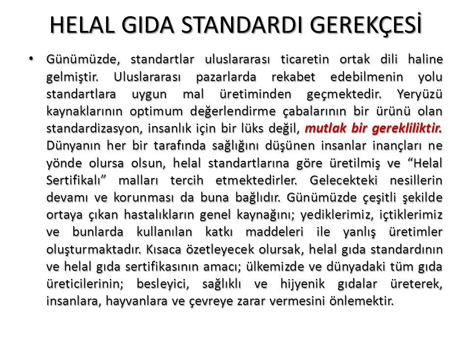 HELAL GIDA STANDARDI GEREKÇESİ